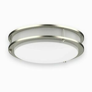 LED Ceiling Light Flush Mount, Dimmable Overhead Fixture, Brushed Nickel 14in