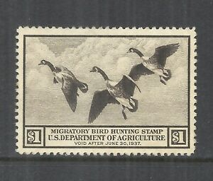 U.S. SCOTT RW3 MNG VF - 1936 $1 BROWN FEDERAL DUCK STAMP    CV $90.00