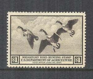 U.S. SCOTT RW3 MNG VF - 1936 $1 BROWN FEDERAL DUCK STAMP    CV $90.00