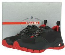 NEW PRADA MEN'S BLACK RED SNEAKERS SHOES 9.5/US 10.5