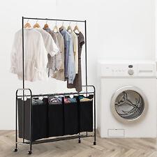 4-Bag Rolling Laundry Sorter Cart Laundry Hamper Hanging Bar Black