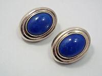 Vintage Sterling Silver & Sodalite Large Oval Stud Earrings