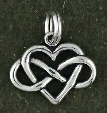 Infinity Symbol Heart Charm Sterling Silver Pendant Forever Love
