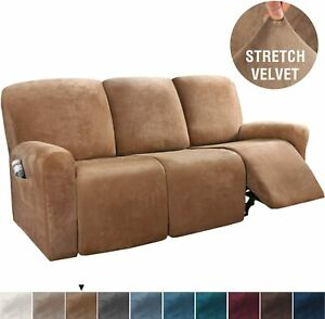 8 piece Soft Velvet Plush Stretch Recliner Sofa Cover 3 Seat Couch Choose Color
