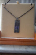 Rectangle Necklace adjustable chain purples ceramic