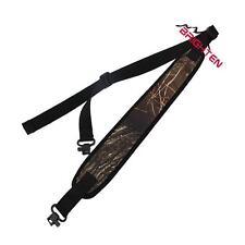Brown Camouflage Neoprene Gun Rifle Shotgun Sling, Strap, Black, 2 Swivels