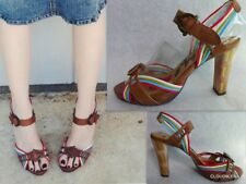 NAUGHTY MONKEY Size 8 Multi-Colored straps Platform Heels Buckle Sandals Shoes