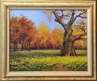 "Old oak.Original framed oil on canvas 16""x20"" painting from artist impressionism"