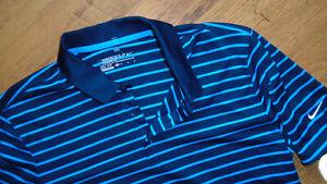 Nike Golf Dri - Fit Polo T shirt Blue Striped Sz Medium