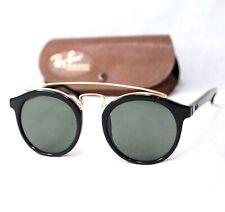 Ray ban B&L Gatsby Style 4 Sonnenbrille Vintage W0932 G15 Oval Schwarz Gold Rund