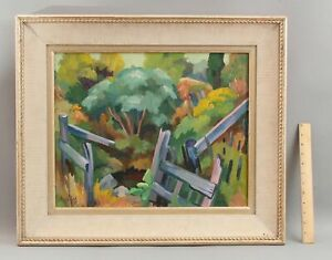 Orig FREDERICK BUCHHOLZ American Post-Impressionist Landscape Painting & Fence