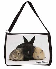 Rabbit with Guinea Pigs 'Happy Easter' Large Black Laptop Shoulder Bag, AR-9EASB