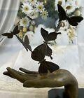 Signed Original Milo Art Deco Sculpture Butterfly in Hand Bronze Statue Artwork