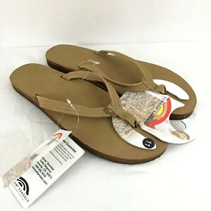 Rainbow Womens Sandals Flip Flops Leather Thong Brown Size 11