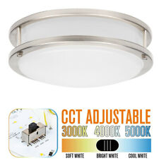 10in/12in/14in 3 Color Temperature LED Flush Mount Ceiling Light Brushed Nickel