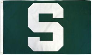 Big Green S Flag 3x5ft Sports Flag MSU Spartans Flag Michigan