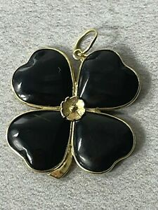 Vintage Onyx 4 Leaf Clover Pendant Necklace in Solid 14K Yellow Gold