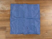LUCIANO BARBERA blue polka dots linen pocket square authentic - NWOT
