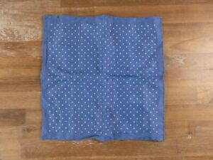 LUCIANO BARBERA blue polka dots linen pocket square authentic