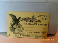 Vintage United States House of Representatives Chamber Visitor Pass