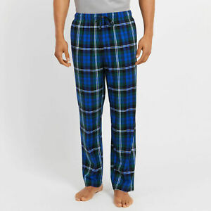 Nautica Men's Plaid Print Fleece Pajama Pants, Green/Blue Multi, XL