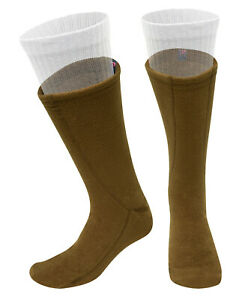 Brown Polar Fleece Boot Over Sock Liners Warm Comfy Cold Weather Feet Protection