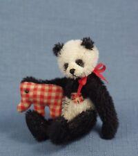 "Deb Canham "" Old Louis"" Miniature Mohair Panda- With Calico Elephant 3 3/4"""
