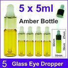 5 x 5ml Amber Eye Dropper Aromatherapy Glass Bottle Essential Oil