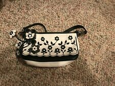 Isabella Fiore black and white floral purse