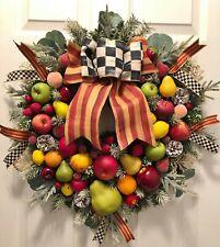 WILLIAMSBURG CHRISTMAS FRUIT~MACKENZIE CHILD RIBBON~FALL~THANKSGIVING~WREATH