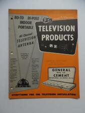 1952 Television Installation Tool Antenna Catalog General Cement Mfg Co Vintage