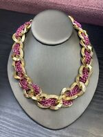 Vintage Quality Bright Gold  Chunky Link Large Chain Pink Weave Necklace 16""