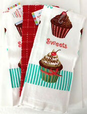 Kitchen Dish Towel Set of 3 Heavy Quality Gift Sweets Cupcake Cake Dessert Red