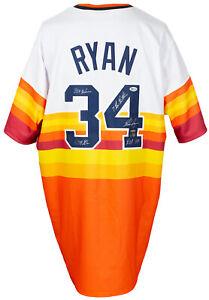 Nolan Ryan Signed Houston Astros Throwback Baseball Jersey Multi Insc. BAS