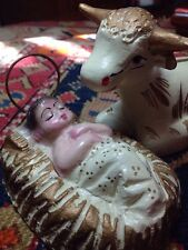 Baby Jesus and a lone cow - adorable; vintage clay; painted - unknown origin