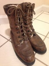 Eddie Bauer Boots~Brown Leather Sheepskin Lace Up Vintage~Womens Size 10