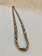"Mixed Metal Braided Chain Necklace Made In Korea 30"" Long"