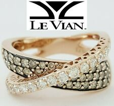 2 ct LeVian 14K Rose Gold Chocolate & White Diamond Wedding Band Ring Rtl 4