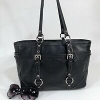 Authentic COACH F12343 Large Black Leather Gallery Tote Shoulder Purse Bag