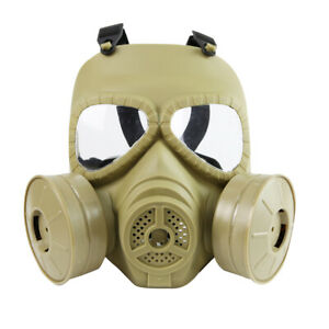 Tactical Airsoft Gas Mask CS Field Army Dual Fan Riding Mask Full Face Mask