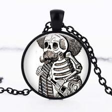 Gothic Skeleton photo dome Black Cabochon Glass Necklace chain Pendant