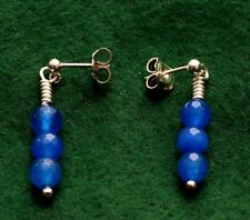 Sterling silver stud drop earrings, with three blue agate beads, one only