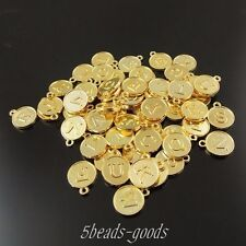 59pcs Gold Tone Alloy Round Mixed Letters Pendant Charms 12*12*2mm 38419