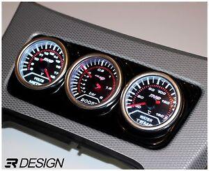 BMW E90 E92 E93 Centre Console Gauge Holder 3 Hole 52mm - Gloss Black ABS
