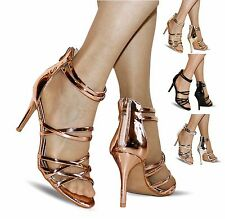 Womens Party Patent chrome Ankle Straps Mid High Heel Shoes Sandals Size-06-9