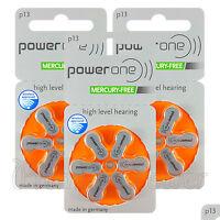 Power One 13 Size Hearing aid batteries * Zinc air Mercury free Varta x 60 cells