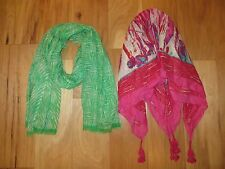 LOT OF 2 BINDYA GREEN ZEBRA WOOL SILK GAUZE SCARF SET PINK RED SQUARE FRINGE EUC