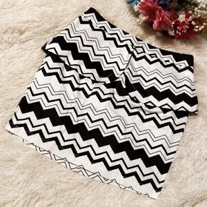 NWT Arden B. Black & White Chevron Print Peplum Skirt Size Small