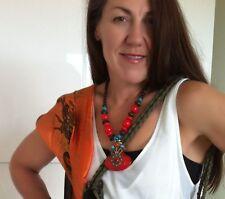 1 Necklace Pendant Big Charm Gold Red Aqua Festival Surf Aztec Gypsy Jewellry
