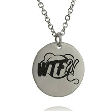 WTF Comic Book Sound Effect Bubble Necklace - Engraved Stainless Steel Pendant